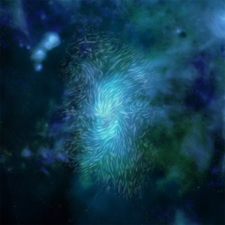 Magnetic fields, shown as streamlines, over a blue and gray image of a bright ring at the center of the Milky Way galaxy.