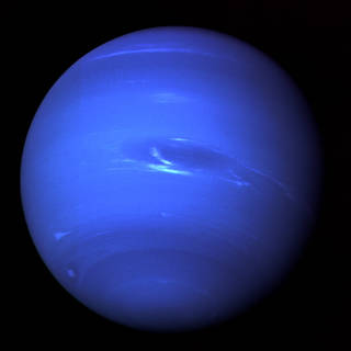 deep blue image of Neptune seen by Voyager 2