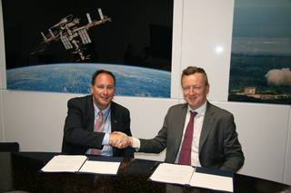 NASA acting Administrator Robert Lightfoot and Roberto Battiston, president of Italy's space agency Agenzia Spaziale Italiana