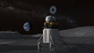 Artist concept of human landing system on the Moon's surface.