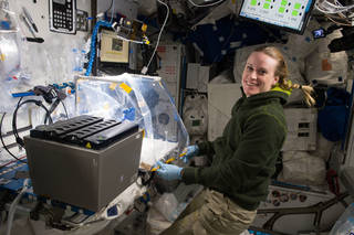 Side view of astronaut Kate Rubins working with Wet Lab-2 hardware on board the ISS
