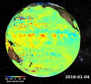 Jason-2/OSTM contributed to a long-term record of global sea levels.