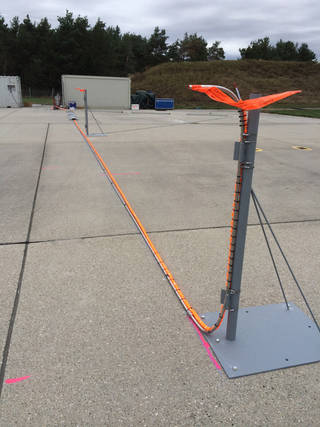 The NASA-designed and installed sampling inlets are set up on the airport ramp in Germany. Credits: NASA/Bruce Anderson