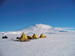 Training camp set up on the foot hills of Mt. Erebus near McMurdo Station in the Antarctic.