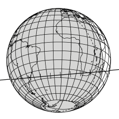 Projected path of the 2014 MU69 occultation shadow, across South America and the southern tip of Africa, on June 3.