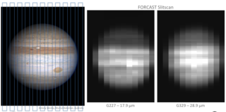 The left-hand panel shows a visible-light image of Jupiter. The two right-hand panels show SOFIA images of Jupiter.