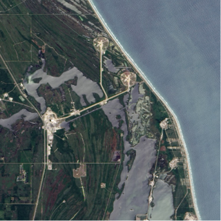 An aerial view of Kennedy Space Center in Florida.