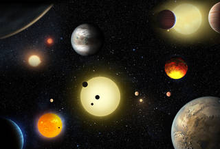 This artist's concept depicts select planetary discoveries made to date by NASA's Kepler space telescope.