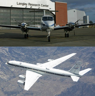 Two NASA research aircraft, the UC-12B (top) and the DC-8
