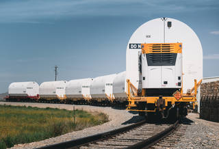 A train carrying the rocket motors for NASA's Space Launch System rocket