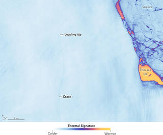 satellite view of Larsen C ice shelf crack