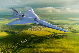 Artist's concept of the X-59 Quiet SuperSonic Technology X-plane, or QueSST,.