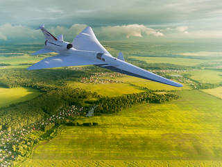 Artist concept of a low-boom flight demonstrator in flight over land.