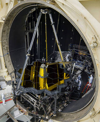 Webb Telescope optical system inside Johnson Space Center's thermal vacuum Chamber A
