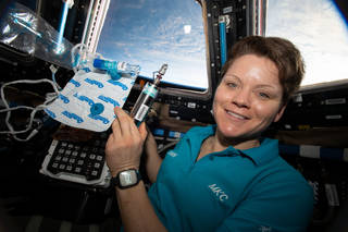 Expedition 58 Flight Engineer Anne McClain of NASA with samples collected for the Canadian Space Agencys MARROW investigation.
