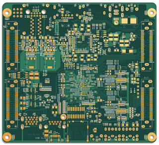 What looks like a photo of a printed circuit board is actually a computer-generated simulation based on computer-aided design.