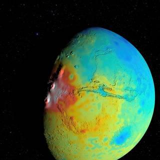 Mars crust thickness map