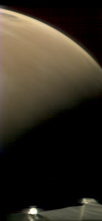 image of mars with edge of spacecraft