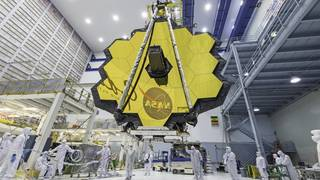 Webb telescope with mirror unfolded inside facility at NASA Goddard