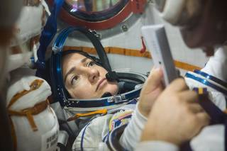 ASA astronaut Jessica Meir runs through procedures Sept. 11, 2019, aboard the Soyuz MS-15 spacecraft