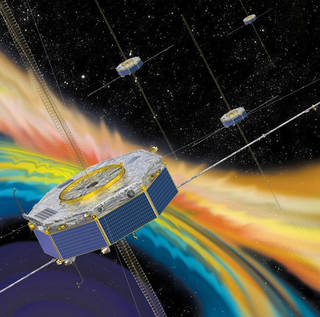 Illustration of the MMS spacecraft in orbit in Earth's magnetic field.