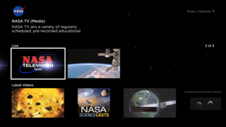 Screenshot of the NASA app for Roku.