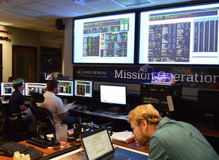 Flight controllers working in the mission operations center at Johns Hopkins Applied Physics Lab