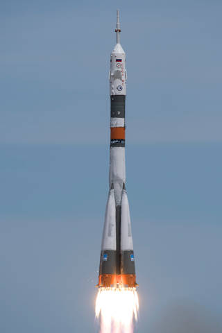 A Souyz rocket launches from the Baikonour Cosmodrome in Kazakhastan April 20