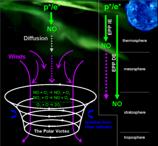 illustrated graphic showing Nitric Oxide transport in Earth's polar region