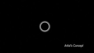 Still animation showing a ring of light around Pluto as it was backlit by a star.