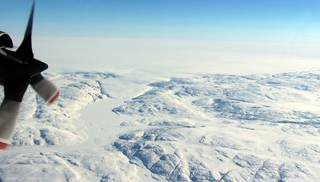 The Greenland Ice Sheet, as seen from a NASA Operation IceBridge flight