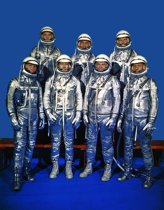 NASA's first astronaut class, the Mercury 7 - Schirra, Slayton, Glenn, Carpenter, Shepard, Grissom and Cooper