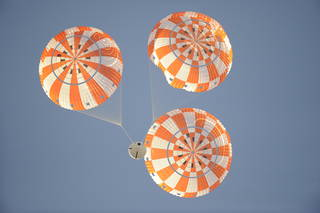 Orion Capsule Parachute Assembly System (CPAS) drop test using the Parachute Test Vehicle at the U.S. Army's Yuma Proving Ground