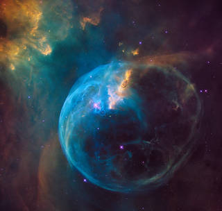 Hubble photograph of bubble blown into space by massive star