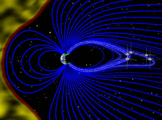 artist's representation, not to scale, of Earth's magnetic field, solar wind and THEMIS probes
