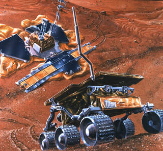 Illustration of Pathfinder lander and Sojourner rover on Mars surface