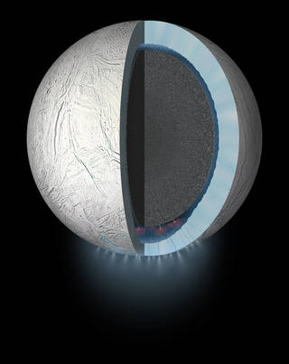 Artist's rendering showing a cutaway view into the interior of Saturn's moon EnceladuA