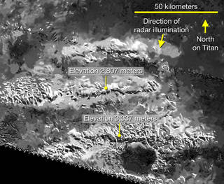 Radar View of Titan's Tallest Mountains