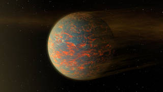 This illustration shows one possible scenario for the hot, rocky exoplanet called 55 Cancri e