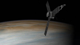 This illustration depicts NASA's Juno spacecraft in orbit above Jupiter