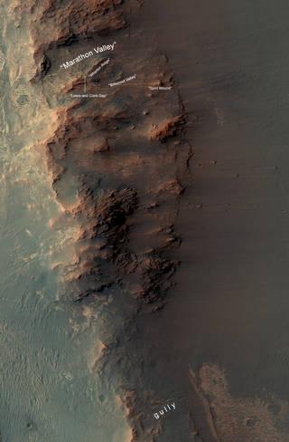 """""""Marathon Valley"""" area on Mars"""