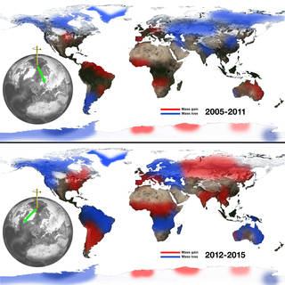 The relationship between continental water mass and the east-west wobble in Earth's spin axis