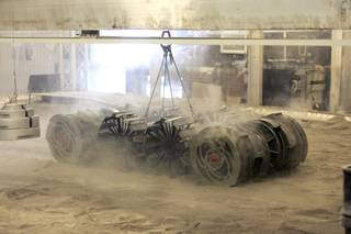 The Granular Mechanics and Regolith Operations Lab tests the Regolith Advanced Surface Systems Operations Robot (RASSOR).