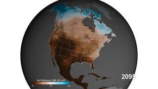 North American map of estimated ground moisture in 2095 based on a high emissions scenario