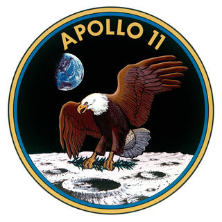 Eagle with a branch landing on the moon with the Earth in the background and the words APOLLO 11 on top.