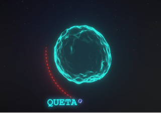 "translucent-blue illustration of Eurybates with tiny natural satellite ""Queta"" labeled"