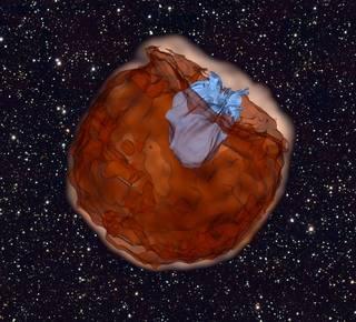 computer simulation showing debris of a Type Ia supernova (brown) slamming into its companion star (blue)