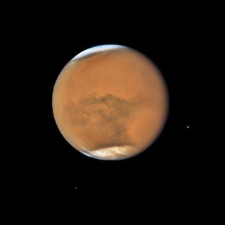 Mars, hazy with a global dust storm