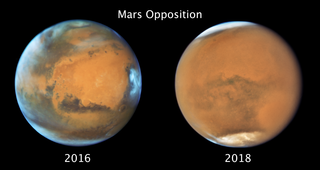 two images of mars, one clear, one fuzzy
