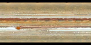 flat-map version of Hubble observations of Jupiter.